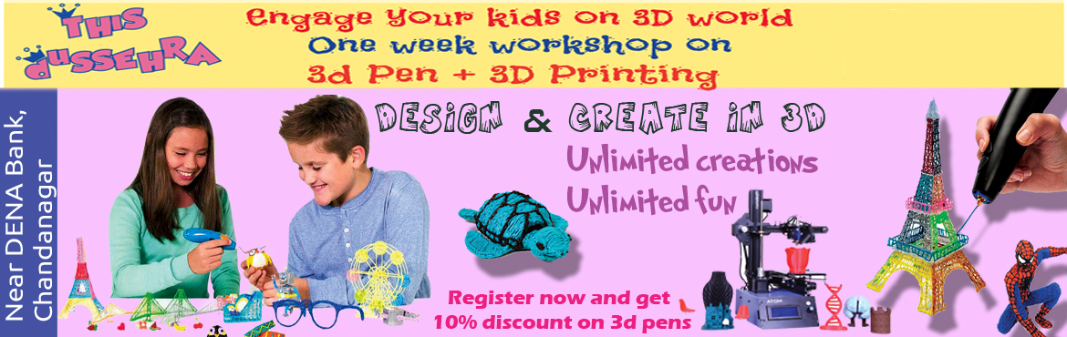 Book Online Tickets for 3D Pen and 3D Printing Workshop for Kids, Hyderabad. Engage your kids in the new arena of 3D world - 3D Pen and 3D Printing. If your kids love drawing, then you have to book them into our latest workshop. These holidays we are bringing drawings to life with our one week 3D Pen and 3D Printing workshop.