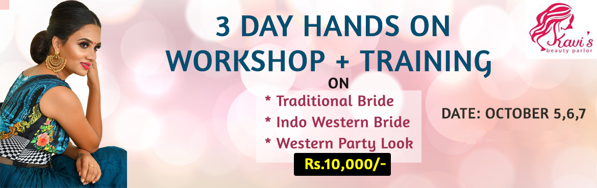 Book Online Tickets for BRIDAL MAKEUP WORKSHOP  + TRAINING, Chennai. Get trained yourself for Bridal makeup course by Kollywood popular Kavis Bridal Studio. 3 Days Hands on Workshop + Training on: * Traditional Bride Makeup * Indo Western Bride Makeup * Western Party Look
