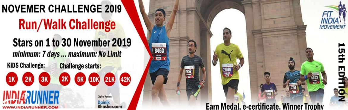 Book Online Tickets for India Virtual Running/Walking November C, Delhi. India Virtual Running/Walking November Challenge 2019 Run/Walk/Cycling Anywhere…Anytime…Anyone…    PAY only 300 to Get Medal/Certificate/Trophy and FREE T-shirt (Who Purchased Quarter Challenge Ticket) October Running Challe