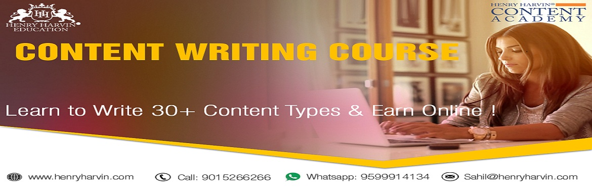 Book Online Tickets for Content Writing  Course by Henry Harvin , New Delhi.   Henry Harvin Education introduces 8 hours of Online Based Training and Certification course on content writing creating professional content writers, marketers, strategists. Gain Proficiency in creating 30+ content types and become a Certified