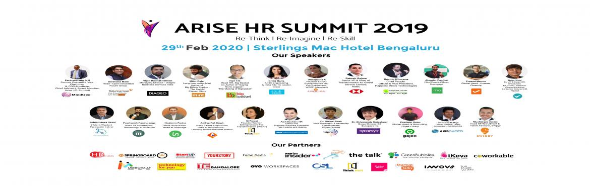 Book Online Tickets for Arise HR Summit, Bengaluru. About this Event   Arise HR Summit 2k20 is believed to be a platform for aspiring HR Professionals to Re-think the conventional strategies being used in Human Resources Sector for a long time, Re-Imagine the prospects of implementing Artificial Intel