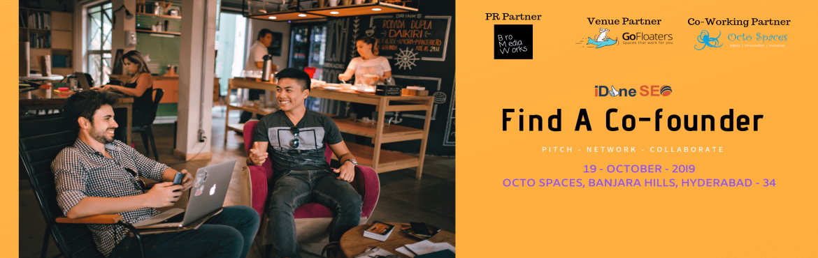 Book Online Tickets for Find A Co-founder, Hyderabad. Hello! Pitch, Network, Collaborate to welcome great team in your startup. It is informal meetup to start discussion on one topic for some time and lead the team discussion as moderator.  We share google doc forms to all participants to know sta