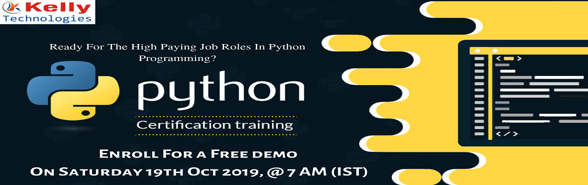 Book Your Seat For Python Free Demo Session By Experts At Kelly Technologies Scheduled On  19th  Oct at 7AM