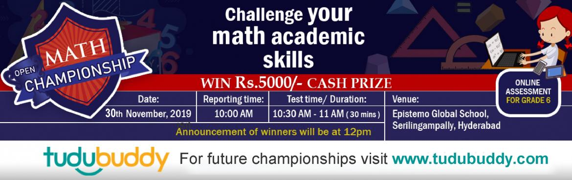 Book Online Tickets for Math Championship for 6th Grade, Hyderabad.   TuduBuddy is an Artificial Intelligence (AI) based online assessment platform for your child. With custom practice tests on various subjects, you can help your child test their knowledge, identify the gaps in their academic learning and i