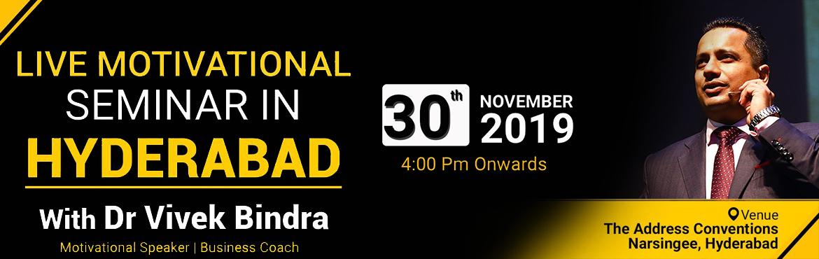 Book Online Tickets for Bounce Back By Dr.Vivek Bindra, Hyderabad. Bada Business is an Initiative by Dr. Vivek Bindra, who is a Motivational Speaker and a Renowned Business Coach. Bada Business provides Extensive Knowledge of the Different Business Strategies and Frameworks, which will Help Indian SME's to Do