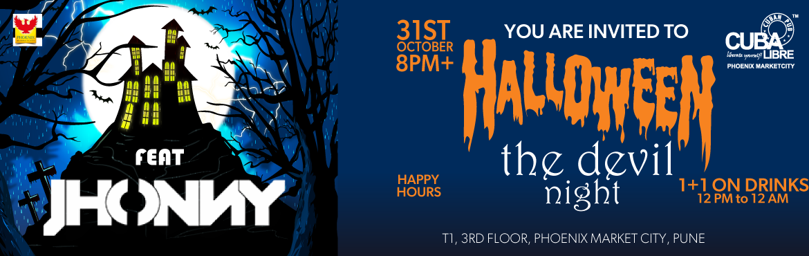 Book Online Tickets for Halloween The Devil Night, Pune. HALLOWEEN THE DEVIL NIGHT FROM THE DIARIES OF HALLOWEEN EVE Mayhem is proclaiming a sadist night infused with electronic elegance. This Halloween the enigmatic vibes of music and madness flow across the floor with deadly decor. The atmosphere smokes