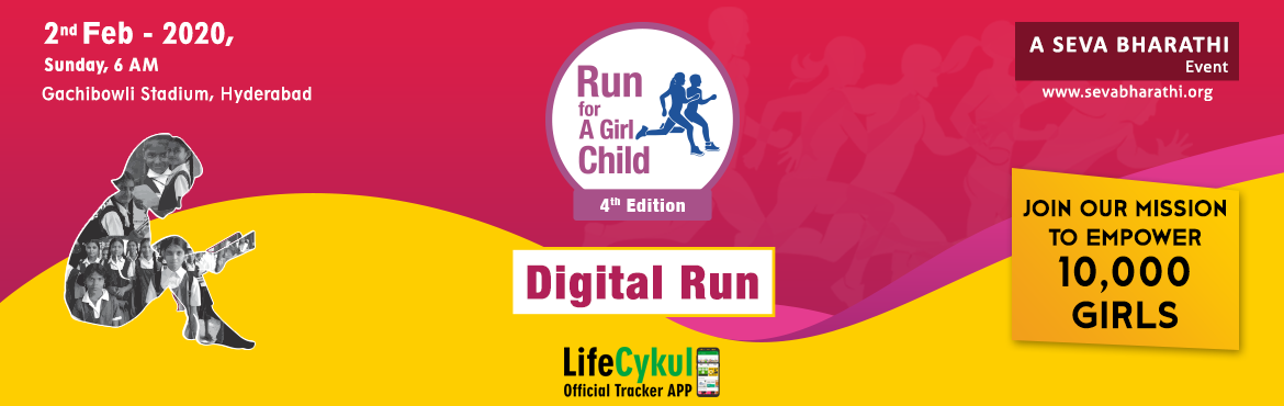 Book Online Tickets for Run For A Girl Child (4th Edition), Hyderabad. Sevabharathi is organising the 4th edition of Run for a girl child on Feb 2nd 2020 at Gachibowli stadium. This event is held annually to empower girl child through their flag ship Kishori Vikas program. The biggest Run in the west side of t