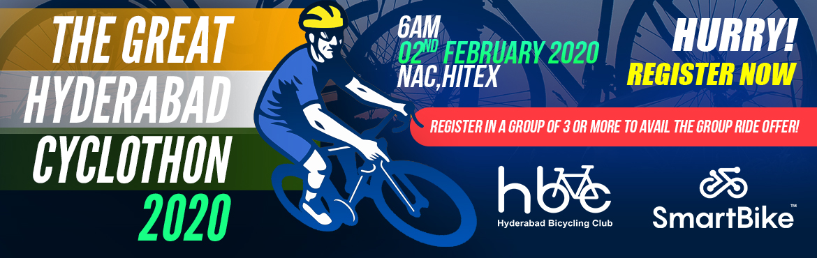 Book Online Tickets for The Great Hyderabad Cyclothon 2020, Hyderabad. Let's take the pledge that we are going to Encourage Cycling for Healthy Living and Commute on Cycle wherever and whenever possible. Please join, The Great Hyderabad Cyclothon to support this cause and celebrate Republic Day in a unique ma