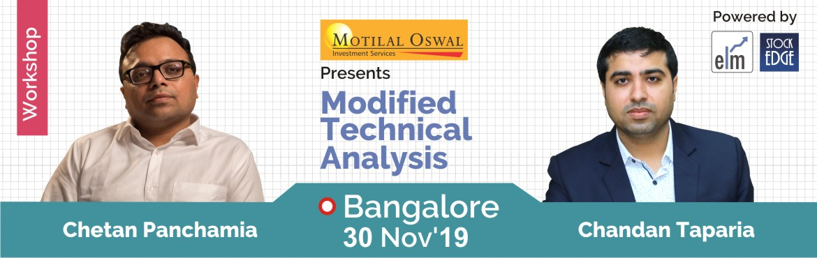 Book Online Tickets for Modified Technical Analysis - Bridge Bet, Bengaluru. Introduction Reading Charts and applying Technical Analysis with finesse is an Art. The program is designed to help participants to identify common mistakes while reading a chart, Identify False breakouts and profit from them, and learn hidden