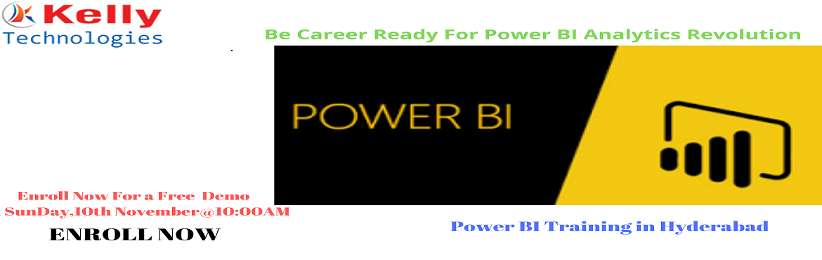 Book Online Tickets for Get Success In Power BI Technology By Re, Hyderabad. Get Success In Power BI Technology By Registering For Free Demo Session At Kelly Technologies On10thNov,10:00AMInHyd. About The Event- Power BI is one among the most advanced Business intelligence technology