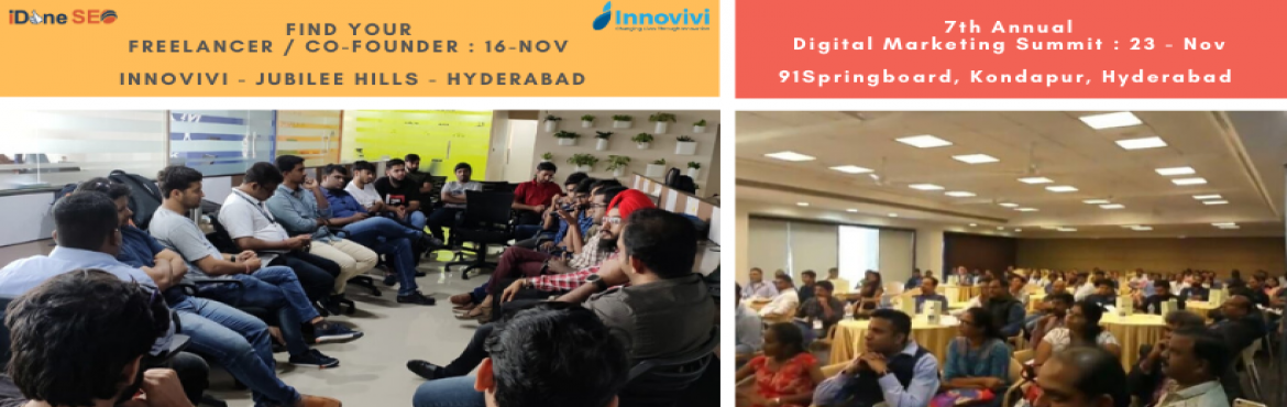 Book Online Tickets for Find A Freelancer / Co-founder, Hyderabad. Are you a Startup / SME - Looking for freelancers / co-founders ! Pitch your project / idea / requirement for freelancers / co-founders. This will hep to get overview of the projects which could be interesting for them.   Note : Pitch should be