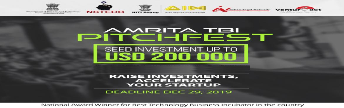 Book Online Tickets for Amrita TBI pitchfest 2020, Bengaluru. Dear Startups, Innovators & Thinkers, Greetings from Amrita TBIIf you have a great innovative idea or product and are looking for funding, then Amrita TBI Pitchfest is the perfect platform to showcase your ideas/products. Pitchfest is a unique in