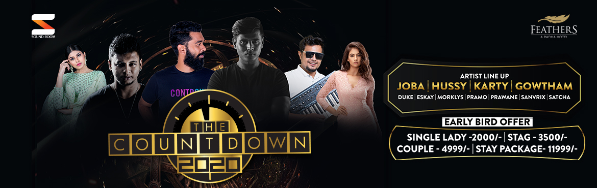 Book Online Tickets for The Countdown New Year Party 2020, Chennai.   Get FLAT 10% Off on this Event. Use Code: ENTD163 Offer Valid Till 31st Dec   The Countdown 2020  New Year Party happening at Feathers Hotel on 31st December 2019.   Let\'s celebrate this New Year Party with loads