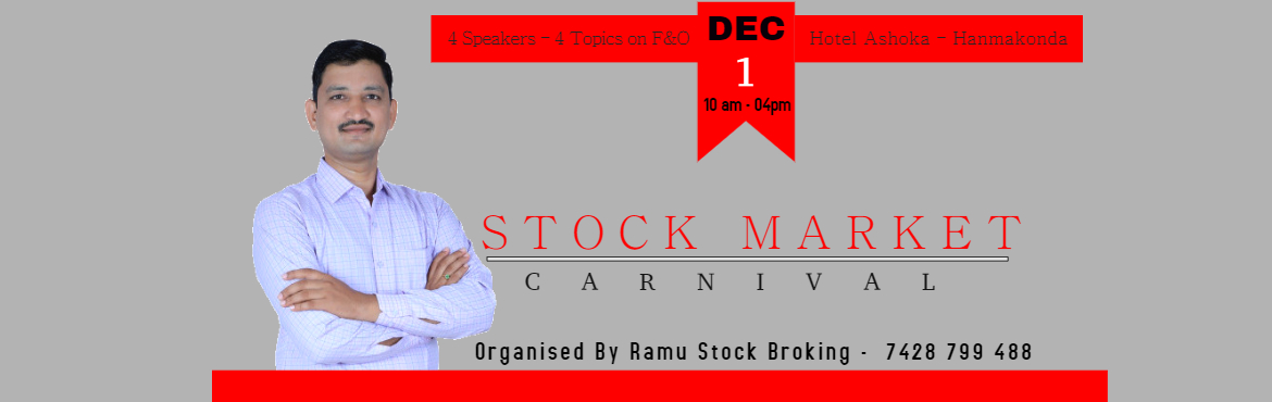 Book Online Tickets for Trade and Earn, Hanamkonda. https://www.meraevents.com/event/trade-and-earn?ucode=organizer Trade and Earn Without Indicators and Charts How to make consistante money using Option Market Option stratagies using hedging Stock Option stratagies for Call and Put Tradding psycholog