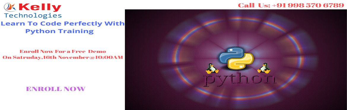 Book Online Tickets for Join Free Demo On Python Training By Ind, Hyderabad. Free Demo On Python Training-Exclusively By Kelly Technologies Attended By Programming Experts Scheduled On 16th November, 10 AM, Hyderabad Join Free Demo On Python Training By Industry Professionals At Kelly Technologies Scheduled On 16th Nove