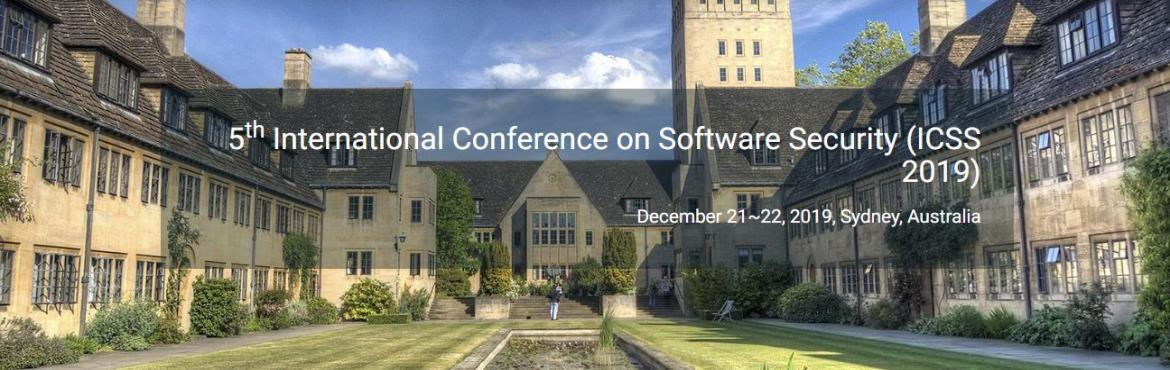 Book Online Tickets for 5th International Conference on Software, Sydney.   5th International Conference on Software Security (ICSS 2019)   December 21~22, 2019, Sydney, Australia    Scope & Topics 5th International Conference on Software Security (ICSS 2019) is traditionally, security in software h