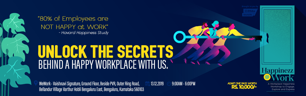 """Book Online Tickets for Invite For Workplace Happiness Workshop, Bengaluru.  As we spend around 60% of our lifetime (excluding sleep hours) at our workplace, it\'s very important to have a happy workplace where Mondays are never annoying.Be a part of a one-of-its-kind workshop on """"Happinezz@Work"""" on 1"""