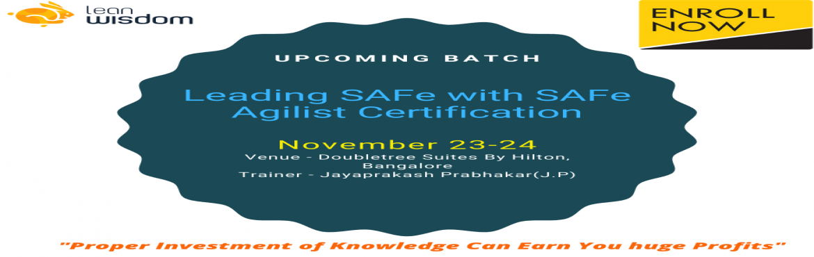Book Online Tickets for SAFe Agilist Training in Bangalore, Bengaluru. If you take a look at the present market scenario you will find that most of the large software development companies are moving towards SAFe from Scrum framework. Scrum framework is used to handle the small teams, on the other hand, the Scaled Agile