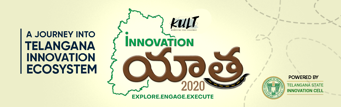 Book Online Tickets for TELANGANA INNOVATION YATRA, Hyderabad.   About TELANGANA INNOVATION YATRA 2020  What is IT?  Telangana Innovation Yatra (TIY), a 4-day journey aims to make participants explore the real-time frugal innovations and expand their knowledge beyond the horizons of traditional ideation. CU