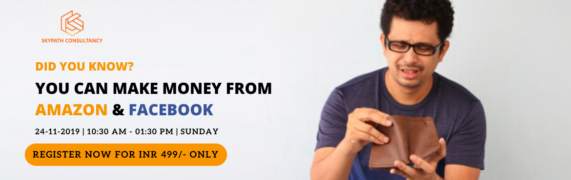 Book Online Tickets for Earn with Amazon - Facebook, Indore. Do You Spend OrEarnMoneyfromAmazon? If you spend money on Amazon then, this workshop will help you earn from it. In this 3 Hour 100% Practical workshop we share Secret Strategies to EARN Money & Grow your business on