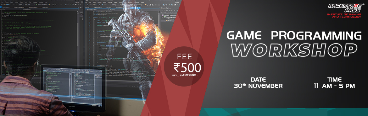 Book Online Tickets for GAME PROGRAMMING WORKSHOP, Bengaluru. Most awaited workshop among the aspiring game artists- Backstage Pass, Bangalore brings you the best in industry mentor-Kuldip Krori – for a workshop on GameProgramming to Koramangala, Bangalore. Come join us for an insightful