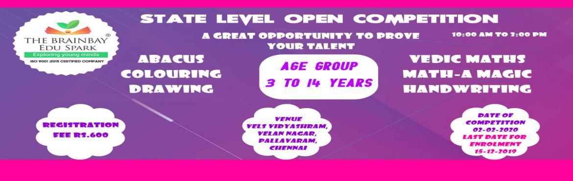 Book Online Tickets for State Level Open Competition for Abacus,, Chennai. The Brainbay EduSpark organises a Talent Fest for the students from 3 years to 14 years to showcase their talents. Here comes theState level competitionwhere students from all Cities will be participating in the event to prove their perfe