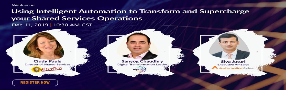Book Online Tickets for Webinar: Using Intelligent Automation to, Houston. Intelligent automation (IA) is not just new technology – it enables enterprises to fundamentally change how business operations are executed – by redefining the business models and enhancing customer value. Join this webinar to understand