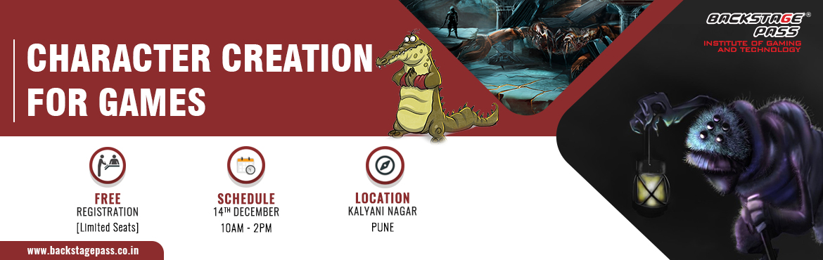 Book Online Tickets for CHARACTER CREATION FOR GAMES, Pune. Most awaited workshop among the aspiring game artists- Backstage Pass, Pune brings you the best in industry mentor– Hirek Shah– for a workshop on COHARACTER CREATION FOR GAMES to Pune. Come join us for an insightful session on 14th Decemb