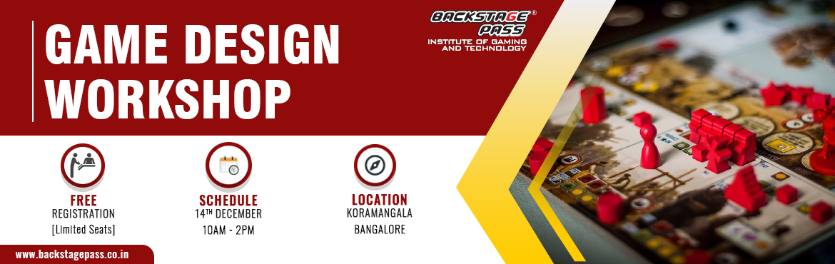 Book Online Tickets for GAME DESIGN WORKSHOP, Bengaluru. Most awaited workshop among the aspiring game artists- Backstage Pass, Bangalore brings you the best in industry mentor- Debasis Kayal – for a workshop on Game Design to Koramangala, Bangalore. Come join us for an insightful session on Ga