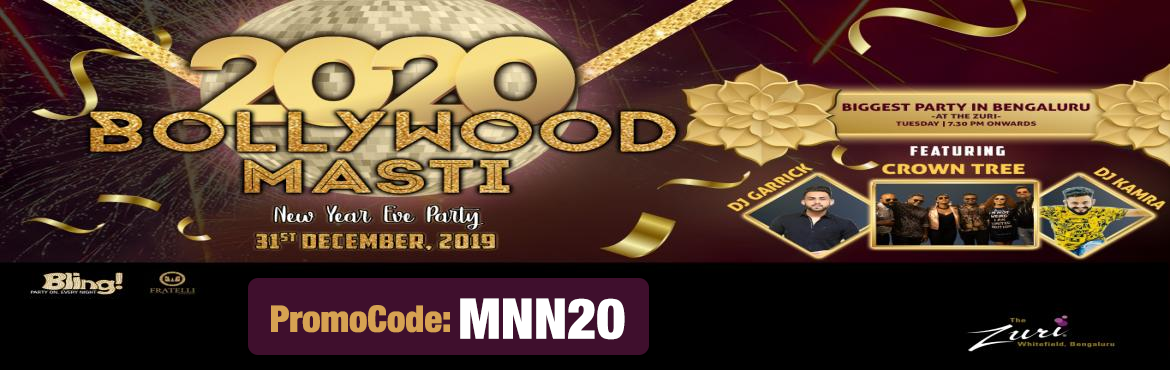 """Book Online Tickets for Bollywood Masti NYE Eve 2020, Bengaluru. Event Theme – Bollywood Masti Turn up your glam quotient with the """"Bollywood Masti"""" theme this New Year's Eve party. The Zuri, Whitefield is all ready to roll out the red carpet to welcome 2020 with a happening parties at Mult"""
