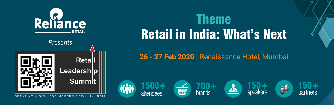 Book Online Tickets for Retail Leadership Summit 2020, Mumbai. Retail Leadership Summit (RLS) is the biggest knowledge sharing platform organised by the industry, for the industry. It brings together all the stakeholders of retail for a common dialogue on the way forward. Over the years, it has come to be known