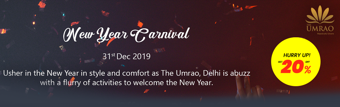 Book Online Tickets for NEW YEAR EVE ESCAPE AT THE UMRAO, New Delhi. NEW YEAR EVE ESCAPE AT THE UMRAO Gala Dinner on 31st Dec,19 comprises of unlimited starters with sumptous expansive buffet and unlimited IMFL drinks (Whisky, bacardy, vodka, beer and red & white wine) Free access to Pool, spa and gymnasium during