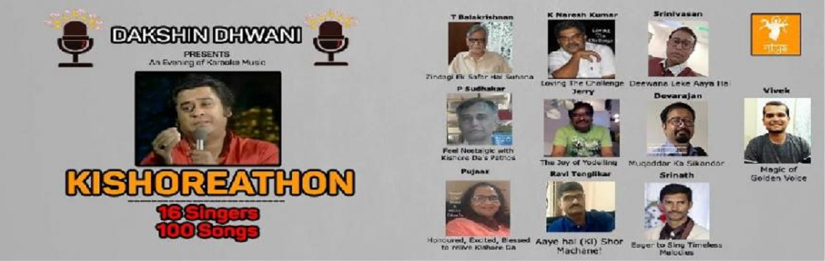 Book Online Tickets for Kishoreathon- 16 singers, 100 songs of t, Hyderabad. Dakshin Dhwani, a city-based group of Hindi film music enthusiasts, entering its fourth year of existence, is organising itsKaraoke musical show- Kishoreathon- 16 Singers, 100 Songs - as a tribute to legendary music director, singer and actor K
