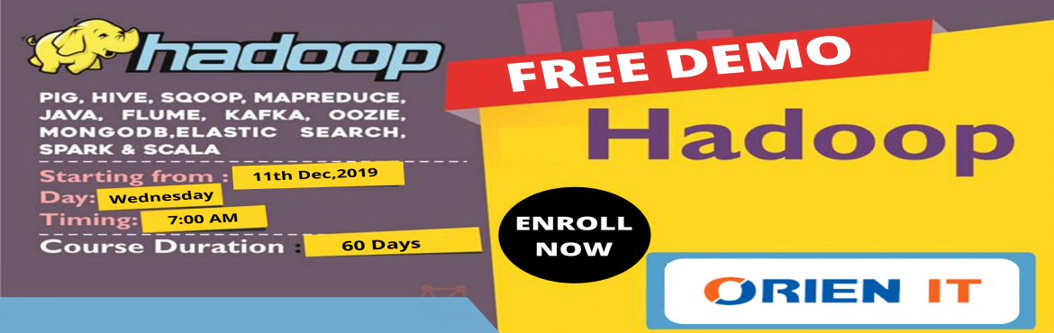 Book Online Tickets for Get Success in Career by Attending Free , Hyderabad. About The Demo: A career in the field of Hadoop is considered to be the most promising with a number of opportunities for career development. Orien IT is now offering a free demo on Hadoop on 11th of Dec 2019 at 7 AM, In Hyderabad. under the supervis