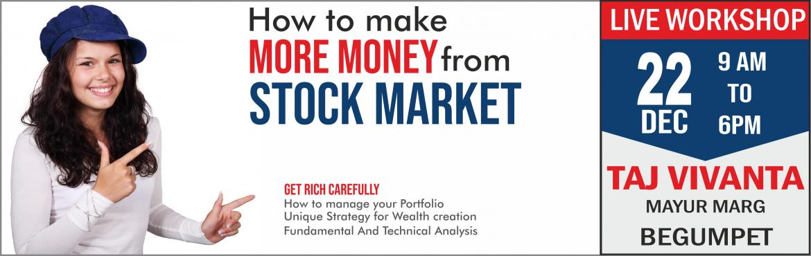 """Book Online Tickets for STOCK MARKET MASTERY - LIVE WORKSHOP, Hyderabad. STOCK MARKET MASTERY--Life changing LIVE WORKSHOP Learn better … Earn better...!   Do you want to make money in stock market? But don't know """"how to do it?"""" Do you want to create Wealth and Retire early? Do"""