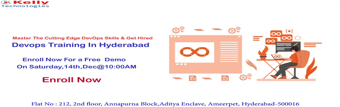 Book Online Tickets for Attend Free Devops Training by Experts f, Hyderabad. AttendFreeDevopsTrainingbyExpertsfromIndustryatKellytechnologiesOnSaturday, 14th Dec@10AM, In Hyd About The Demo- Kelly Technologies DevOps Training: DevOps is one such professional career f