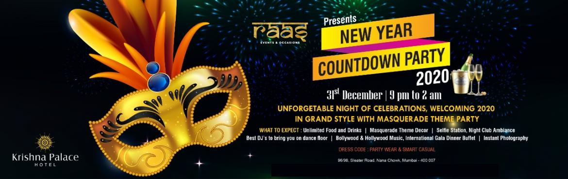 Book Online Tickets for A Masquerade Party New Year Countdown 20, Mumbai.  An unforgettable night of celebration, welcoming 2020 in grand style with Masquerade theme party, a special décor giving away a unique experience to the guests. Unlimited food & drinks, selfie station, night club ambience, Royal