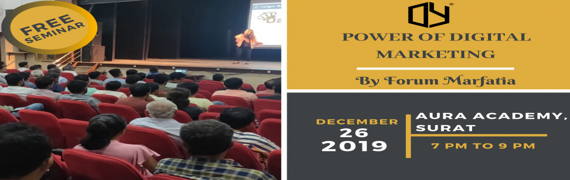 Book Online Tickets for Power Of Digital Media Marketing Seminar, Surat. Free seminar!Know Power of Digital Media MarketingIn this seminar you will gain knowledge of below topics:-What is Digital Media Marketing & Social Media Marketing?-Importance of Digital & Social Media Marketing in this new generation.-How ca