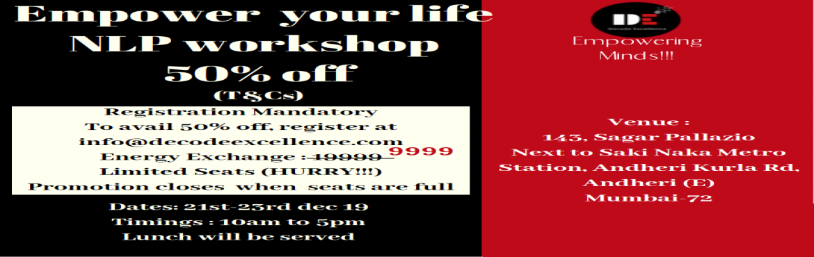 """Book Online Tickets for NLP Workshop - Empowering Minds, Mumbai. Pretty often we get bogged down with the """"challenges of life"""". There seem to be no silver lining. The only thing we can see, hear and experience is the DISPAIR, hoping against hope that things would change for us.  Would you believe"""