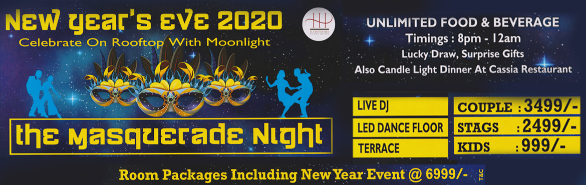 Book Online Tickets for THE MASQUERADE NIGHT 2020, Hyderabad. Join us on the Roof Top for Masquerade Night Theme party at Hotel Hampshire Plaza.  Unlimited Beverage, Unlimited Starter and Unlimited Main Course accompanied by Unlimited High Voltage Music by DJ Shiv, would compel you to shake