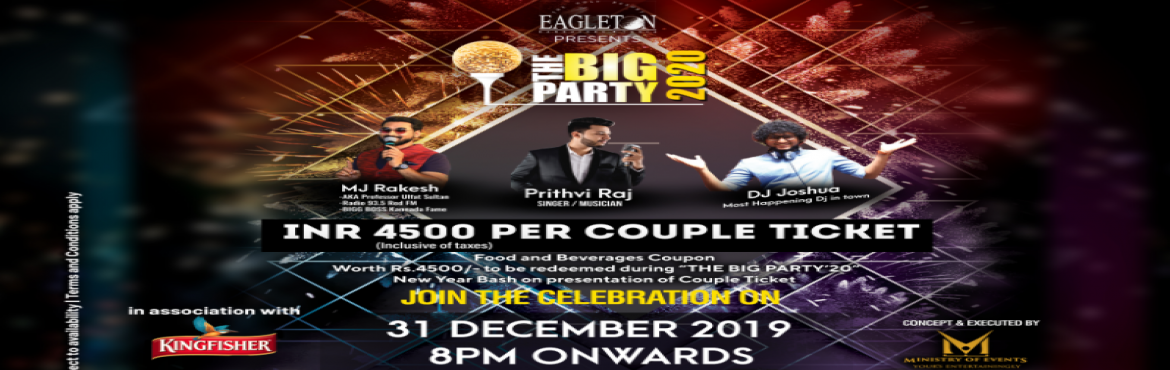 """Book Online Tickets for The Big Party 2020, Bengaluru. The Big Party'2020  Last year you witnessed this exclusive event - The Big Party'19 at the Eagleton Poolside. This year the 19th edition of New Year Bash at Eagleton Poolside, namely, """"The Big Party'20"""", has"""