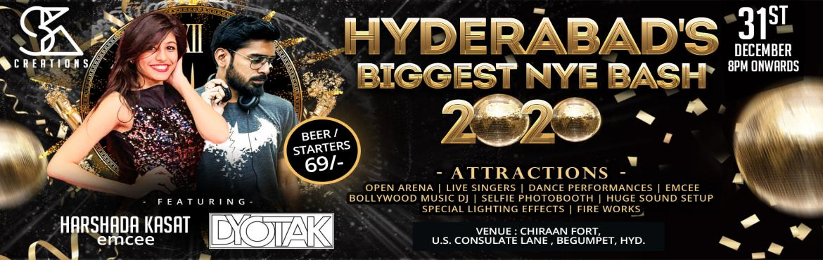 Book Online Tickets for Hyderabads Biggest NewYear Bash 2020 at , Hyderabad. Take your New Years Eve celebration to the max and spend the night partying with Hyderabad\'s popular event management team SK CREATIONS! Drive with us this new year with fun-filled floors, this is what you call the ultimate HYDERABAD\'S BIGGEST