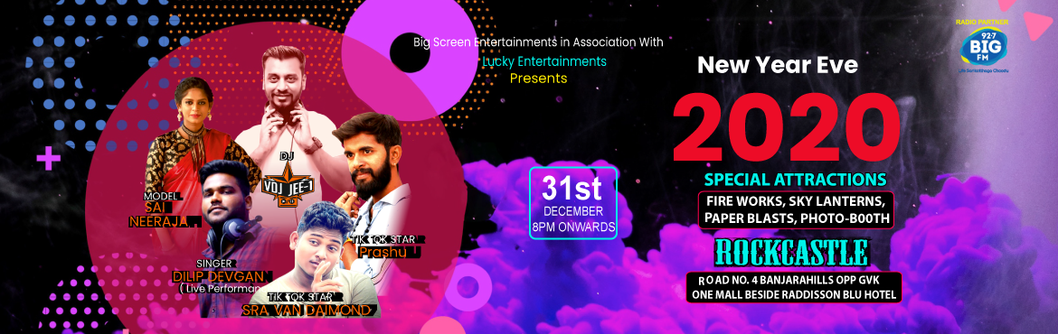 Book Online Tickets for New Year Eve 2020, Hyderabad. This new year cometo Rock Castle and welcome the New year 2020 in a rocking way. With feet tapping music byDj Jee 1, the night has to stand out. Witnessfireworks like never before under the wide-open sky. Light sky later