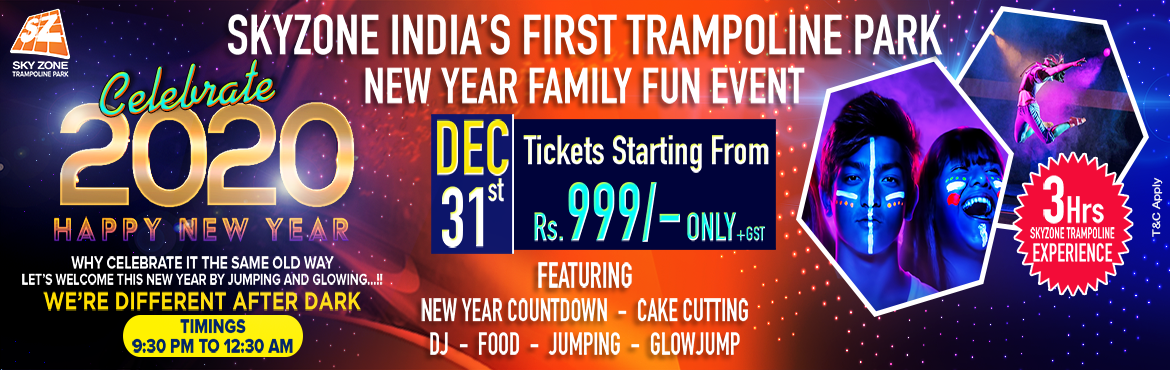 "Book Online Tickets for New Year Eve Glow Party at Sky Zone , Hyderabad. Aren\'t you bored with the same old New Year parties?  Parties filled with alcohol, loud music without any unique fun. Parties where taking your entire family along with kids & elderly is not possible.  Worry no more! ""Sky Zone Hy"
