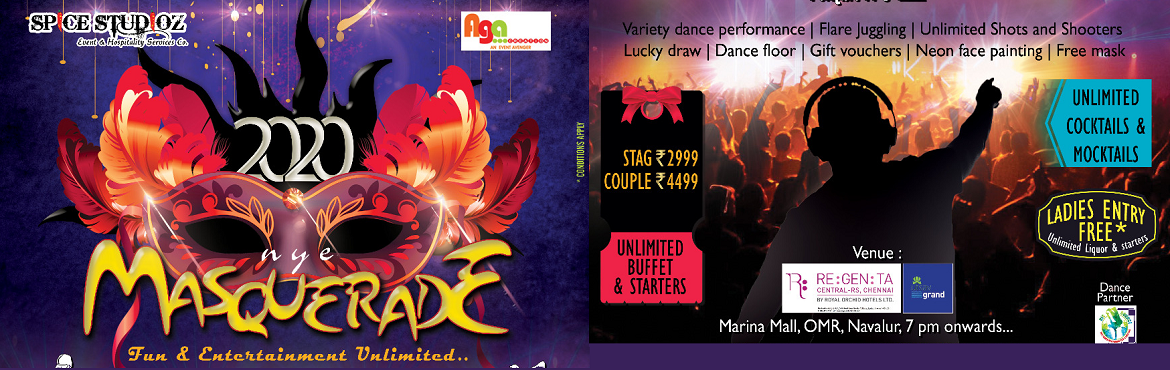 Book Online Tickets for Masquerade 2020 at Hotel Regenta, Chennai. Spice Studioz is also famous for production shows particularly Newyear shows, we have done 15 nos of Newyear events overall from the year 2004. All of our Newyear parties are best of its kind and have done it without any flaws. Onceagainw