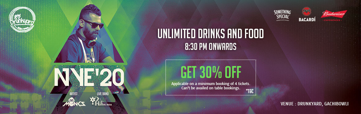 Book Online Tickets for NewYearEve20 at Drunkyard, Gachibowli., Hyderabad. Gather at Drunkuyard for celebration of new year eve 2k20 with great music, amazing food and beloved friends. NYE\'20 Drunkayrd is a platform for all party enthusiasts to enjoy. The Best memories come from the perfect celebrations. Enjoy the last day