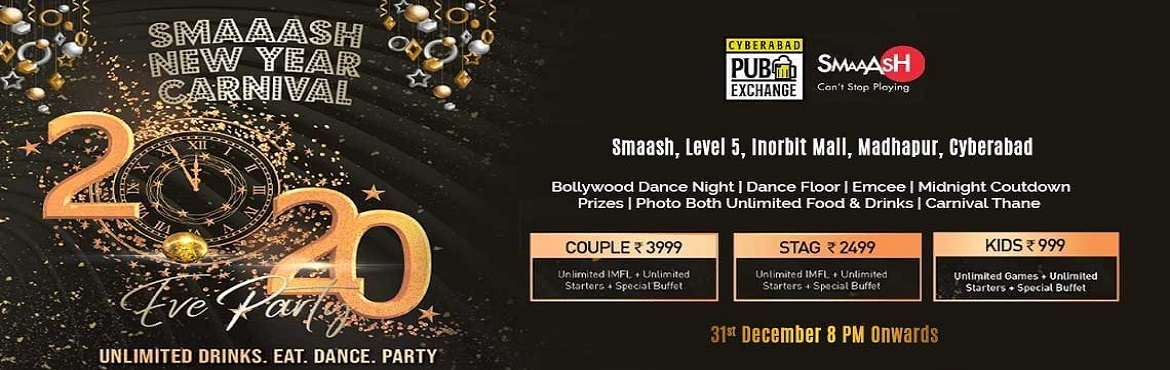 Book Online Tickets for NYE 20 Carnival at Smaaash, Hyderabad. Smaash New Year Carnival 2020. If you just want to let go and party like there is no tomorrow this is the place that you have to come to. Come and Enjoy With your family. You will get to experience different. What are you waiting for then, be a