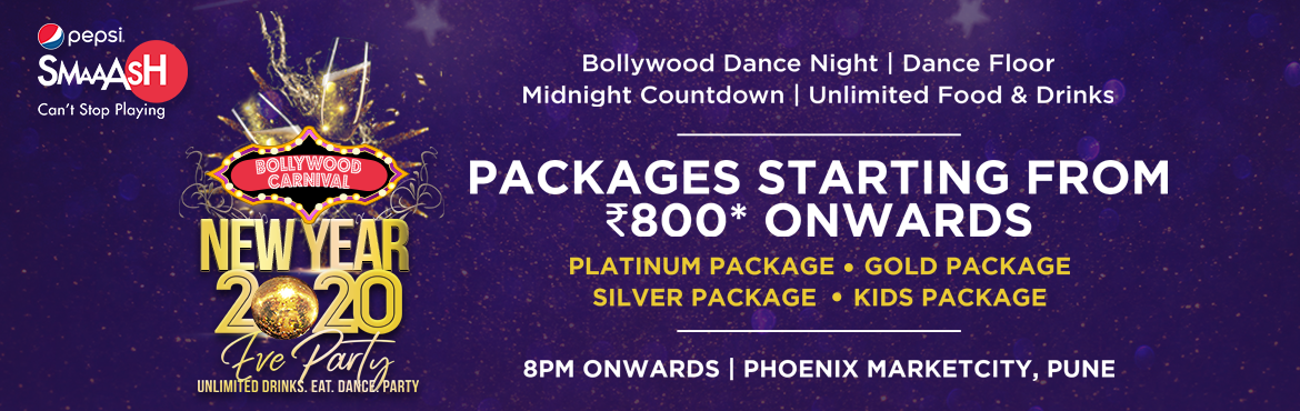 Book Online Tickets for Bollywood Carnival New year 2020, Pune. Smaaash is India\'s World Class Sports & Entertainment Arena that seamlessly mixes gaming, partying and dining into an immersive experience. As name suggest Its Carnival themed party ! Unlimited games, unlimited Food DJ VIK will be setting the da
