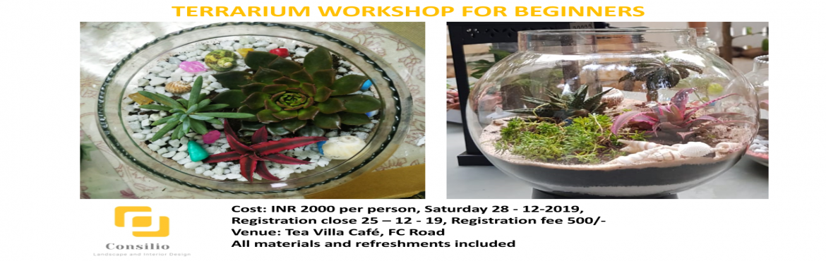 Book Online Tickets for Terrarium Workshop , Pune. Terrariums are mini biomes or simply put miniature gardens in glass containers. You will learn all about 200 year old art terrarium making from Landscape Architect Aditi. Who will demonstrate the process. You will be taught about different type