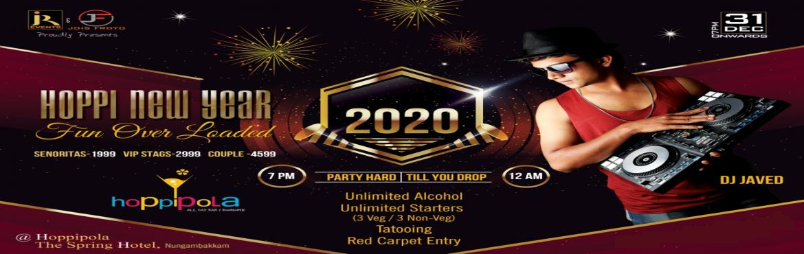 Book Online Tickets for Hoppi New year 2020, Hoppipola, Nungamba, Chennai.  JR Events proudly presents HOPPI NEW YEAR 2020 New Year Party.Light up your 2020 with a sizzling and flaunting night-long party at Hoppipola, the Spring hotel, Nungambakkam, Chennai.Date: 31 December 2019 Ticket actual price:Single lady - Rs. 1